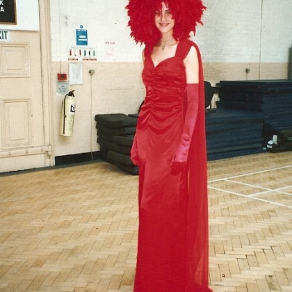 red dress with headpiece